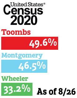 Toombs  49.6%  Montgomery  46.5%  Wheeler ….